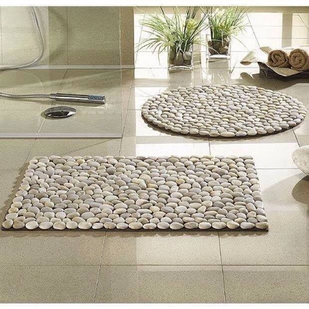Diy how to make a river rock door mat and more for River stone doormat