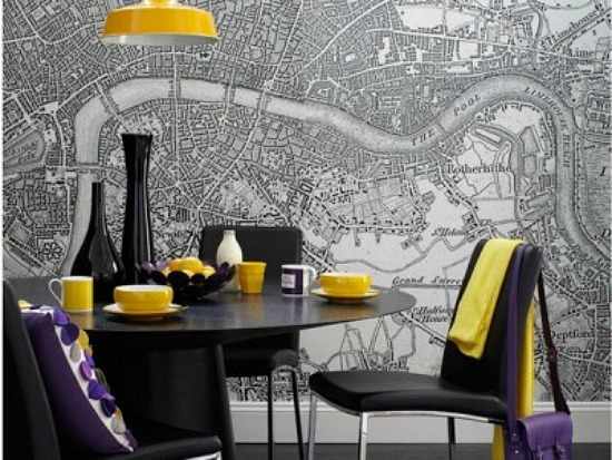 Simple-Dining-Room-with-Map-Murals-Painting-400x300